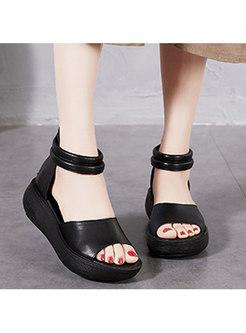 Open Toe Leather Side Zipper Platform Sandals