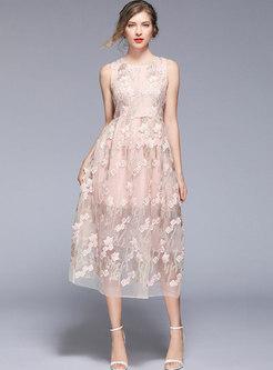 Pink Sleeveless Mesh Embroidered Bridesmaid Dress