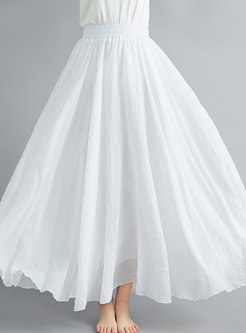 Pure Color Elastic Waist Linen Long Skirt
