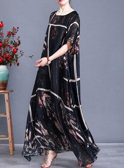 Plus Size Print Half Sleeve Long Shift Dress