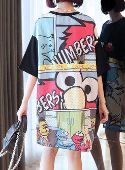 Print Pullover Irregular T-shirt Dress