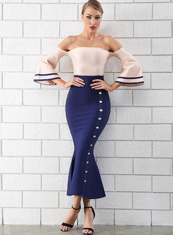 Stylish Hit Color Off Shoulder Sheath Bodycon Dress