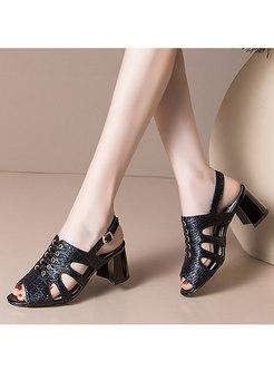 Open Toe Openwork Chunky Heel Sandals