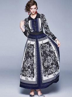 Long Sleeve Print Pleated A Line Maxi Dress