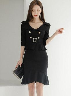Black V-neck Falbala Patchwork Bodycon Dress