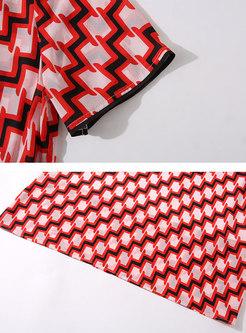 Short Sleeve Geometric Print Silk Skater Dress