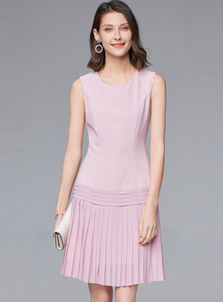 Crew Neck Sleeveless Pleated A Line Dress