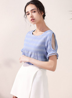 Mesh Cold Shoulder Striped Pullover T-shirt