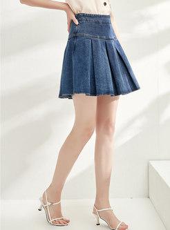 High Waisted Pleated Denim Mini Skirt