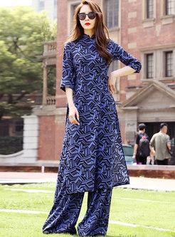 Mandarin Collar Geometric Print Pant Suits