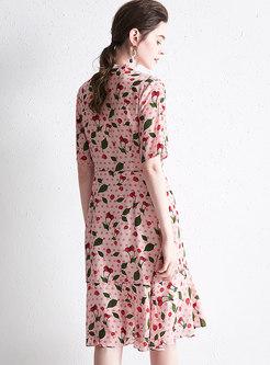 Mock Neck Tied Polka Dot Print Silk Dress