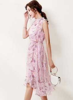 Mock Neck Sleeveless Print A Line Midi Dress