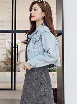 Turn Down Collar Diamond Short Denim Jacket
