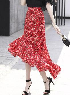 High Waisted Print Peplum Long Skirt