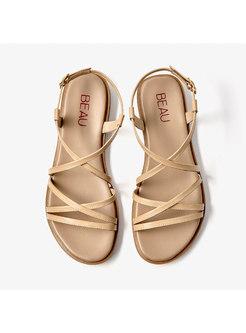 Cross Leather Buckle Flat Roman Sandals