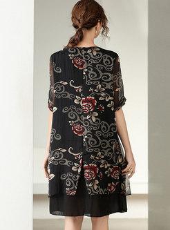 Black Plus Size Print Loose Shift Dress