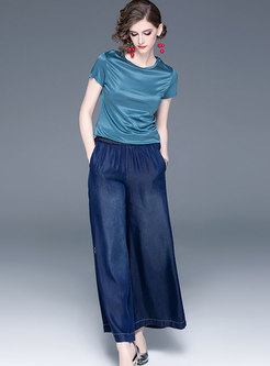 Pullover Slim T-shirt & Denim Palazzo Long Pants