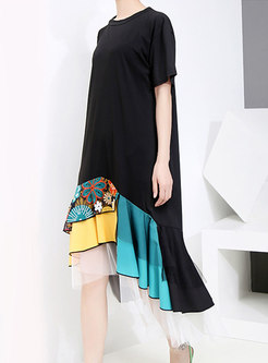 Print Patchwork Mesh Loose T-shirt Dress