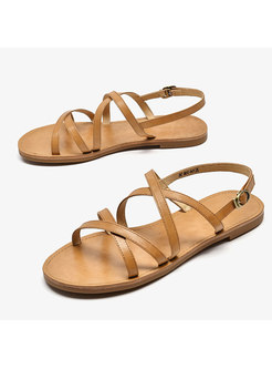 Solid Color Cross Beach Flat Roman Sandals