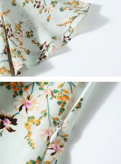 Short Sleeve Floral Silk Skater Dress