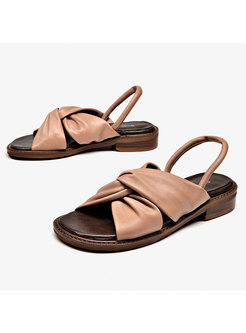 Brown Leather Bowknot All-matched Sandals