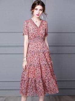 V-neck Floral Puff Sleeve Midi A Line Dress