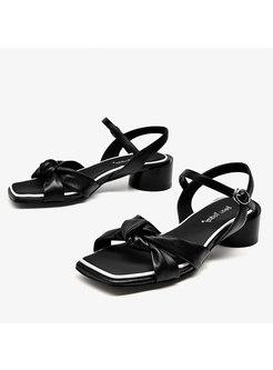 Square Toe Bowknot Chunky Hello Roman Sandals