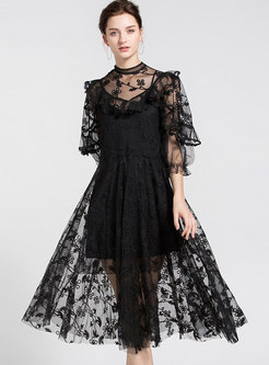 Transparent High Waisted Lace Party Maxi Dress
