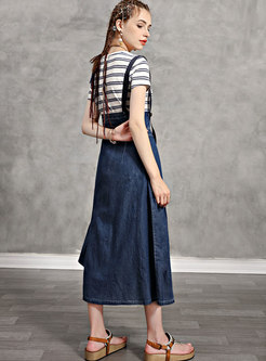 Striped Pullover Slim T-shirt & Denim A Line Skirt
