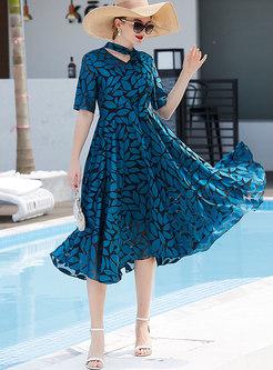 Short Sleeve Print High Waisted Midi Skater Dress
