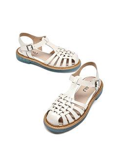 White Leather Openwork Roman Sandals