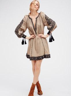 Bohemian V-neck Embroidered Fringed Shift Dress