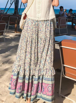 High Waisted Floral A Line Long Skirt