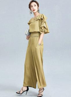 Ruffle Half Sleeve Blouse & Long Palazzo Pants