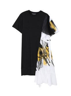 Black Crew Neck Patchwork Chiffon T-shirt Dress