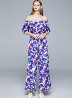 Off Shoulder Floral High Waisted Wide Leg Pant Suits