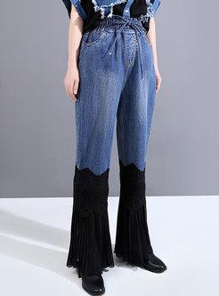 High Waisted Denim Patchwork Flare Pants