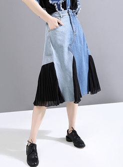 Blue Denim Patchwork Chiffon A Line Skirt