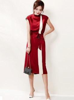 Mock Neck Sleeveless Slit Color-blocked Midi Dress