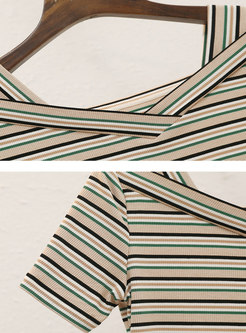V-neck Striped Slim Knit Top & A Line Skirt