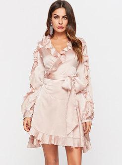 Pink Ruffle Long Sleeve A Line Mini Dress