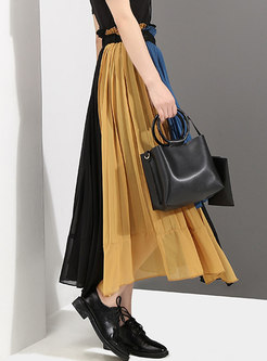 Color-blocked High Waisted Patchwork Chiffon Skirt