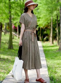 V-neck Floral Linen A Line Midi Warp Dress