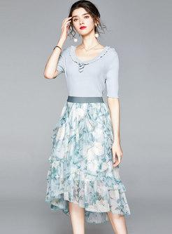 Crew Neck Knit Slim Top & Print Chiffon Skirt