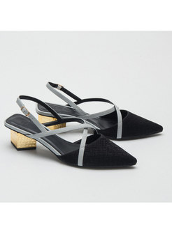 Pointed Toe Color-blocked Chunky Heel Sandals
