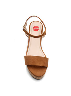 Round Toe Platform Buckle Wedge Sandals