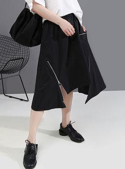 Black High Waisted Asymmetric A Line Skirt