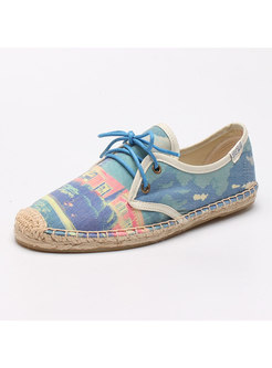 Round Toe Print Canvas Lace-up Flats