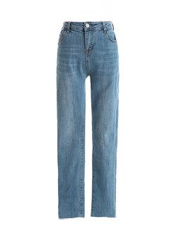 High Waisted Denim Slim Pencil Pants