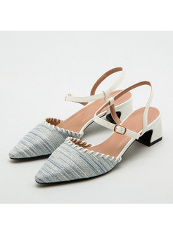 Pointed Toe Leather Buckle Chunky Heel Sandals